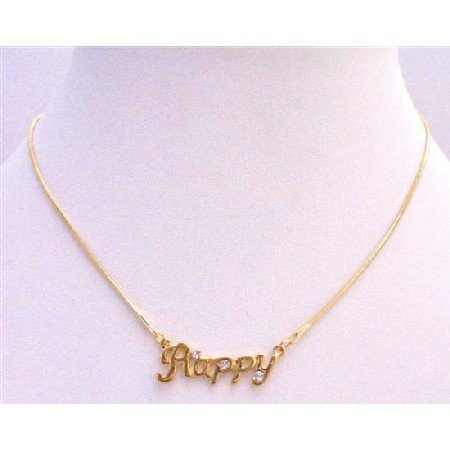 N340  Gold Happy Pendant Decorated w/ Cubic Zircon Gold Chain Necklace