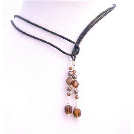 N420  Lariat Jewelry Neckalce w/ Genuine Swarovski Brown Peach Smoked Topaz Cube Crystals