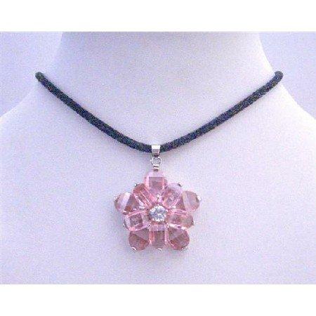 N485  Sunflower Pendant Pink Crystals Flower Pendant w/ Black Velvet Cord Necklace