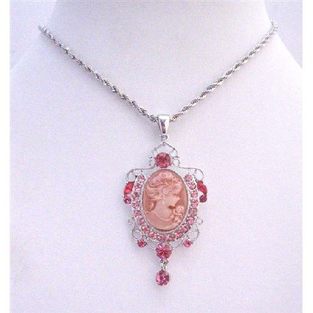 N704  Rose Pink Sparkling Crystals Victorian Lady Cameo Pendant Necklace w/ Dangling Necklace
