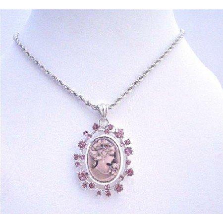 N700  Amethyst Cameo Lady Pendant Necklace Sparkling Amethyst Crystals Necklace