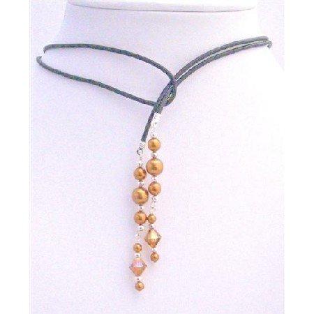 N583  Swarovski Copper Pearls Lariat Necklace & Swarovski Copper Crystals w/ Silver Beads Spacer