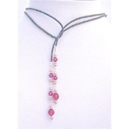 N393 Lariat Necklace w/ Genuine Swarovski Powder Rose Pearls & Swarovski Fuschia Crystals