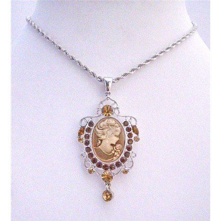 N492  Victorian Lady Cameo Pendant Necklace w/ Austrian Smoked Topaz Crystals Dangling Necklace
