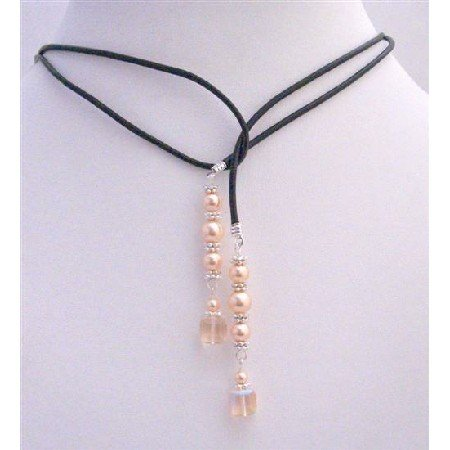 N441  Pearls Lariat Necklace w/ Genuine Swarovski Peach Cube Crystals Bali Silver Spacer Necklace