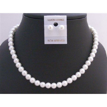 NS420  White Synthetic Pearls Bridemaids Jewelry Set Stud Pearls Earrings Set