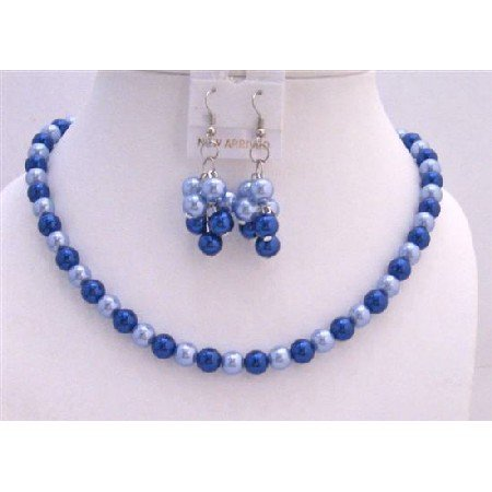 NS495  Sophisticated Necklace Set Adorned w/ Lite & Dark Blue Pearls Gorgeous Jewelry Set