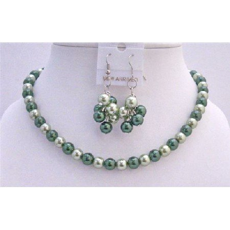 NS473  Bridal Bridemaides Pistachu Green Pearls & Dark Green Pearls Necklace Set