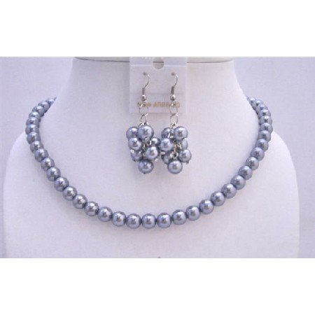 NS540  Affordable Bridal Bridemaides Lite Grey Pearls Necklace Set w/ Bunches Of Pearls Earrings
