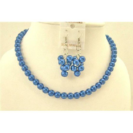 NS222  Synthetic Sapphire Dark Blue Pearls Jewelry Set