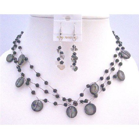 NS381  Three Stranded Necklace Set w/ Black Shell Fancy Onyx Beads Onyx Nuggets Necklace Set
