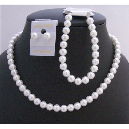 NS324  Pure White Soothing Synthetic White Pearls Wedding Jewelry Set White Pearls Complete Set