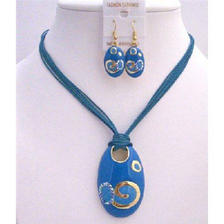 NS298  Gold Enamel Blue Pendant w/ Paint Designed Necklace Set Multistranded Blue Jewelry Set