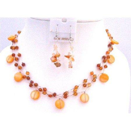 NS347  Delicated Jewelry Set Beautiful Carnelian Shell Nugget Fancy Carnelian Beads Necklace Set