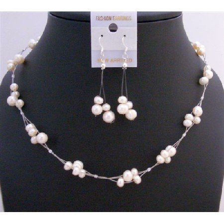 NS547  Ivory Freshwater Pearls Choker Set Interwoven Wire Necklace Set Beautiful Dangling Earrings