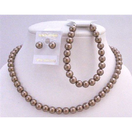 NS427  Wedding Brown Pearls Complete Set Exclusive Hancfrafted Affordable Jewelry