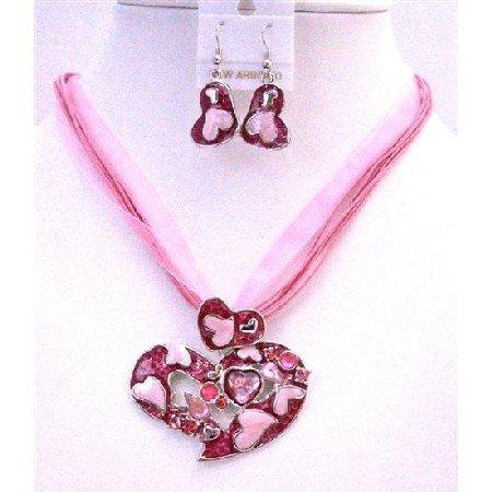 NS322  Pink Flower Pendant Necklace Set Pink Enamel Multi Stranded Necklace