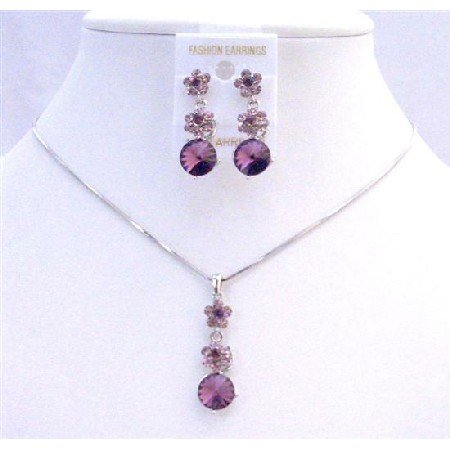 NS202  Purple Amethyst Crystals Flower Necklce Set Amethyst Crystals Stud Dangling Wedding Jewelry