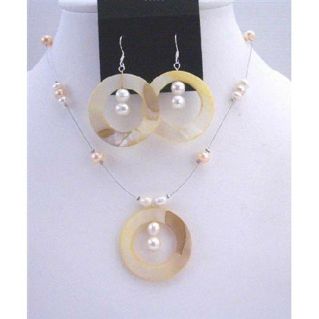 NS398  Shell Freshwater Pearls Necklace Set Round Shell Pendant & Sterling Silver Earrings