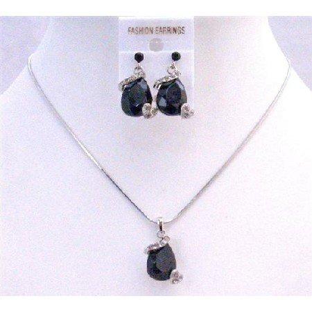 NS190  Jet Crystals Teardrop Necklace Set Very Sleek Danty Inexpensive Jewelry Set