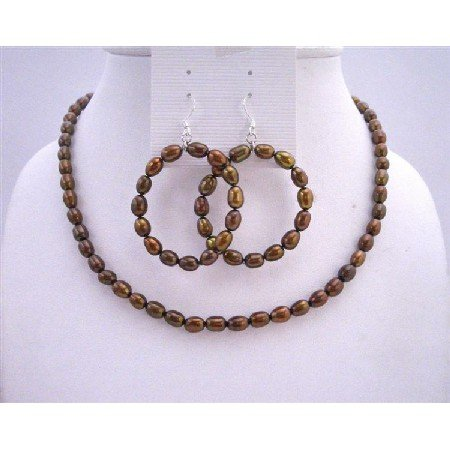 NS316 Metallic Brown Rice Freshwater Pearls w/ Round Hoop Earrings Necklace Sets