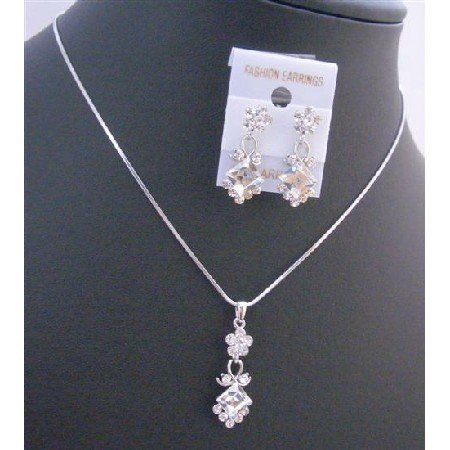NS166  Clear Crystals Wedding Jewelry Set Inexpensive Bridemaids Jewelry Set