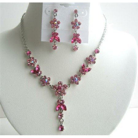 NS286  Rose Pink & Fuschia Crystals Flower Necklace Set w/ Dangling Flower