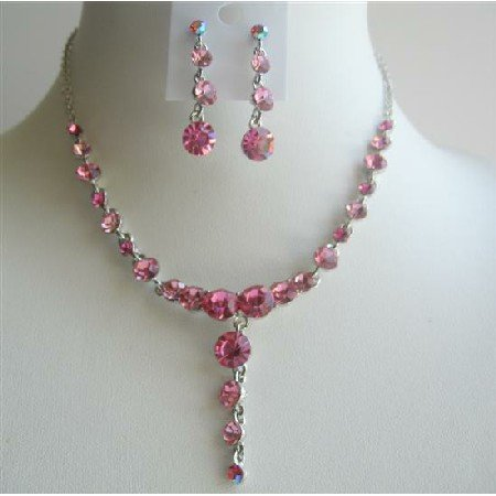 NS235  Vintage Necklace Set Adorned w/ Brilliant Fushcia Pink Crystals