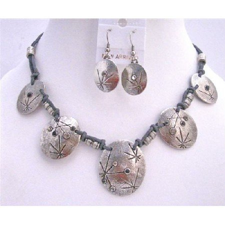 NS210  Victorian Choker Silver Metal Beads Jewelry Set Accented In Polyster Thick Chord