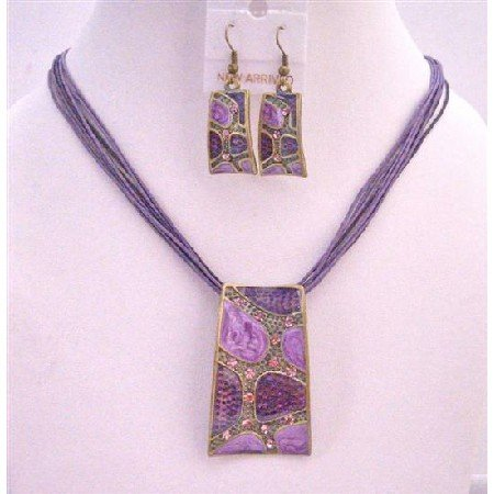 NS425  Beautiful Purple Enameled Self Designed Necklace Set Dainty w/ Rhinestons