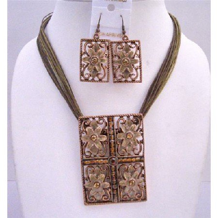 NS499  Rectangle Brown Enamel Flower Pendant Multi Stranded Stranded Necklace Traditional Jewlery