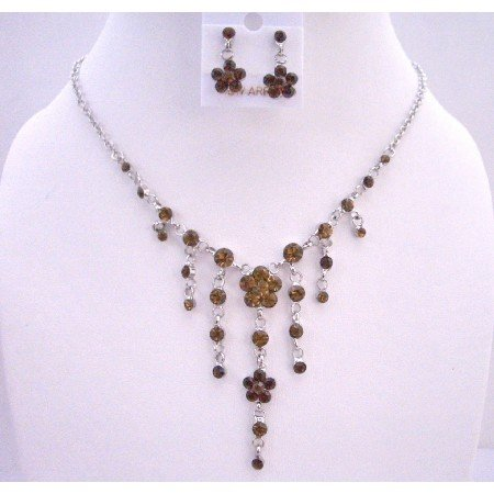 NS472  Smoked Topaz Crystals Dangling Flower Jewelry Set Simulated Crystals Necklace Set