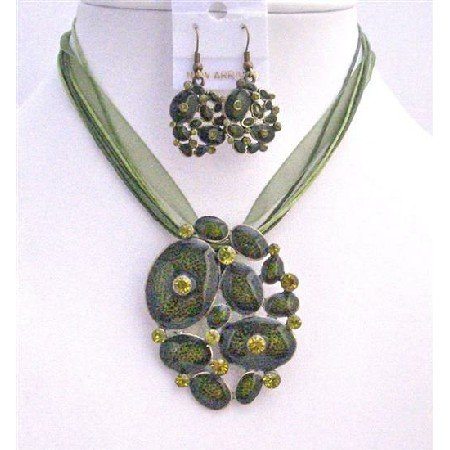 NS494  Jewelry Set Multistrand Green Enamel Necklace Set Blue Jewelry