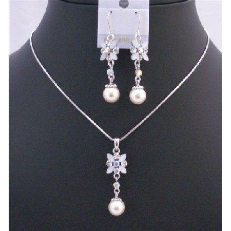 NS201  White Enamel Flower Necklace Set w/ Pearls Dangling Set Beautiful Jewelry
