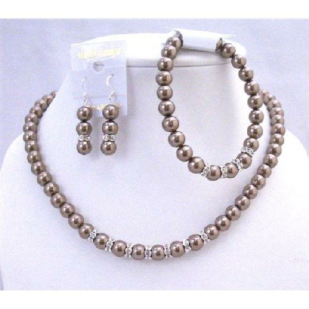 NS164  Bronze Brown Bridal Jewelry Set Complete Set w/ Stretchable Bracelet & Silver Rondells