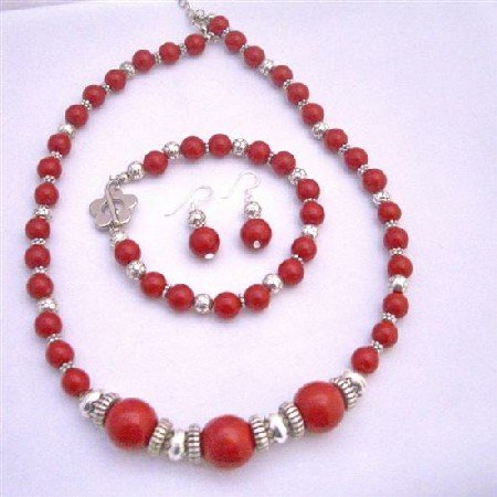 NS600  Ethnic Traditional Coral Bali Silver Coral Round Beads Necklace Earrings and Bracelet
