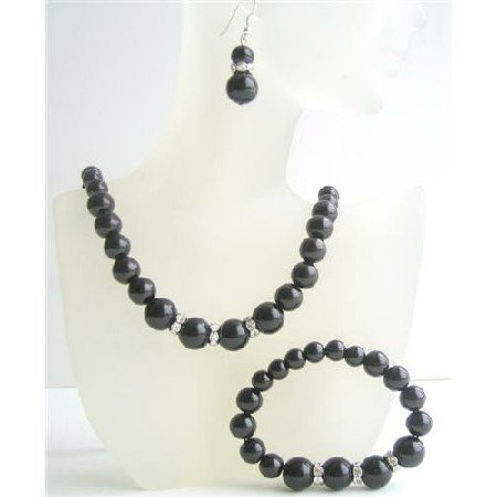 NS522  Black Pearls Jewelry Set Sterling Silver 92.5 Earrings w/ Stretchable Bracelet