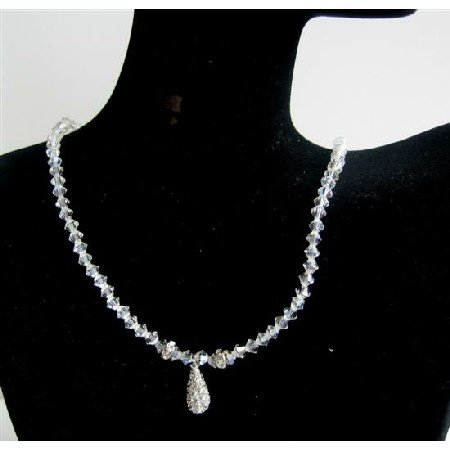 N544  Swarovski Moonlite Crystals Necklace Elegant w/ CZ TeardropNecklace