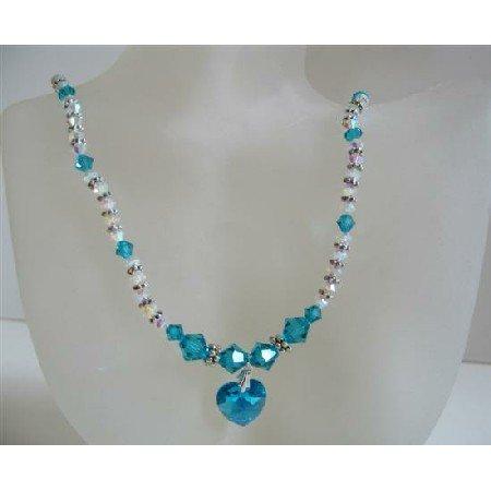 N547 Blue Zircon Crystals And AB 2X w/ Blue Zircon Heart Pendant Genuine Swarovski Crystal Necklace