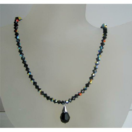 N529 Jet Black Swarovski Crystals Beaded Jewelry AB Jet Sparkling Crystals Necklace w/ Tear Drop