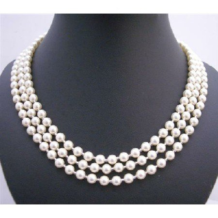 N579 Lite Cream Pearls 59 Inches Long Necklace w/ Japanese Glass Beads As Spacer