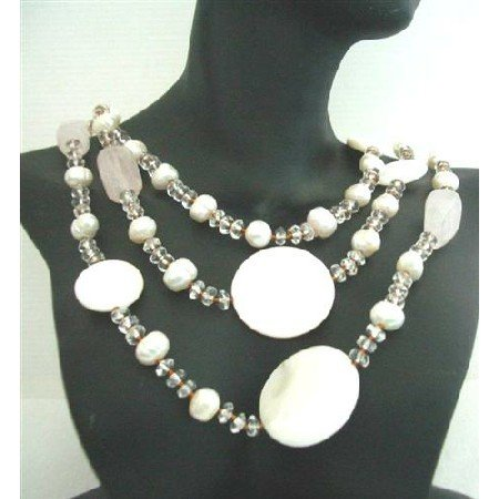 N604 Mother Shell Rose Quartz Freshwater Pearls Clear Crystals Necklace 60 Inches Long