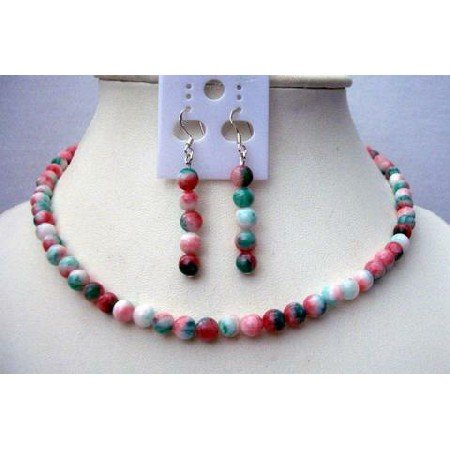 NS385  Simulate Fancy Agate Beads Necklace w/ Sterling Silver Earrings Handcrafted Jewelry