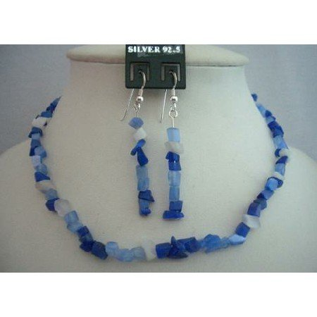 NS361  Sterling Silver Trendy Sapphire Stone Chip Necklace Set Custom Handcrafted (BRAND NEW)