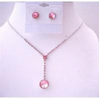 NS562  Fuschia Pink Crystals Drop Down Necklace w/ Fuschia Crystals Stud Earrings Jewelry Set