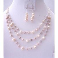 NS554 3 Stranded Jewelry Peachish Pink White Lavender Freshwater Pearls Necklace Set