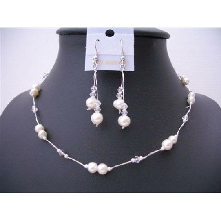 NS505 Clear Crystals And White Freshwater Pearls Choker Necklace Set Wire Necklace Set