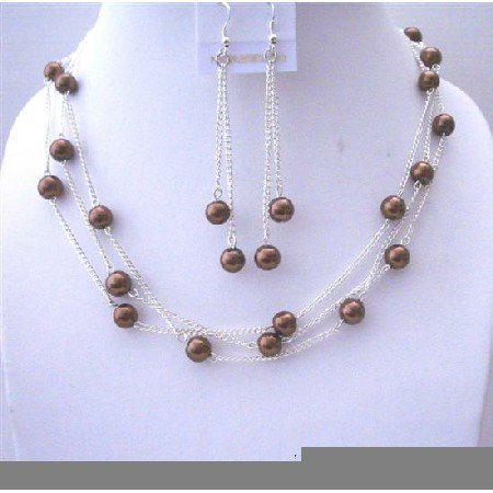 NS552 Bronze Faux Pearls 3 Stranded Handcrafted Necklace w/ Dangling Earrings Jewelry Set