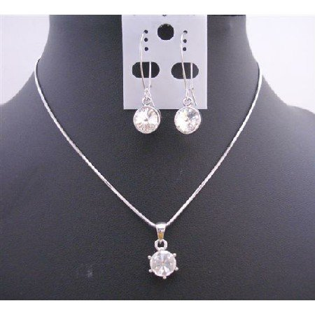 NS338  Round Wheel Crystals Pendant Necklace Set w/ Simulated Crystals Wheel Pendant/Earrings