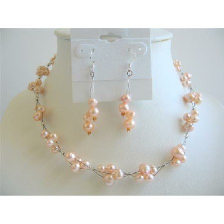 NS590 Peach Freshwater Pearls Choker Set Bridemaides Interwoven Wire Necklace Set